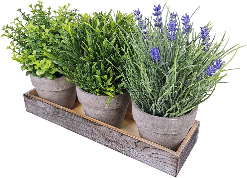 Winlyn Set of 3 Artificial Lavender Flower Grass Greenery Mini Potted Eucalyptus Plants Assortment with Wood Planter Box for Farmhouse Outdoor Decor Indoor Bathroom Kitchen Table Centerpiece
