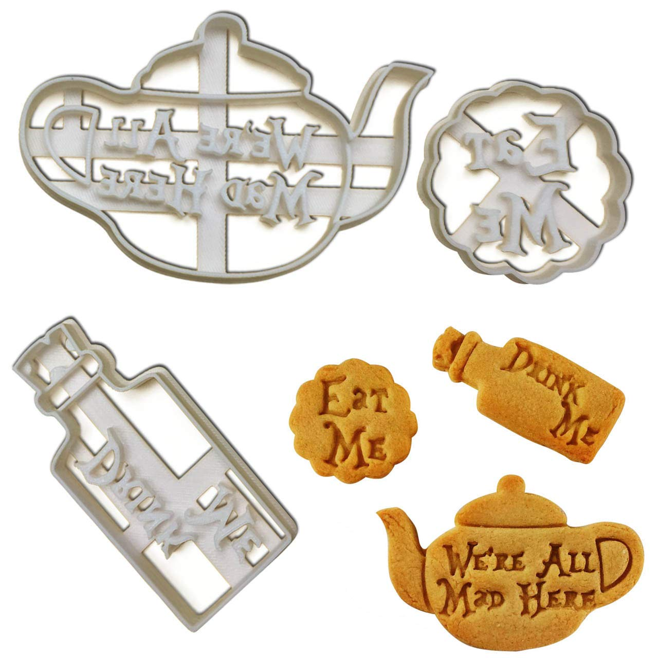 FULL SET of 3 cookie cutters inspired by''Alice's Adventures in Wonderland'' novel by Lewis Carroll, 3 pcs (Eat Me, Drink Me potion, and We're All Mad Here teapot)