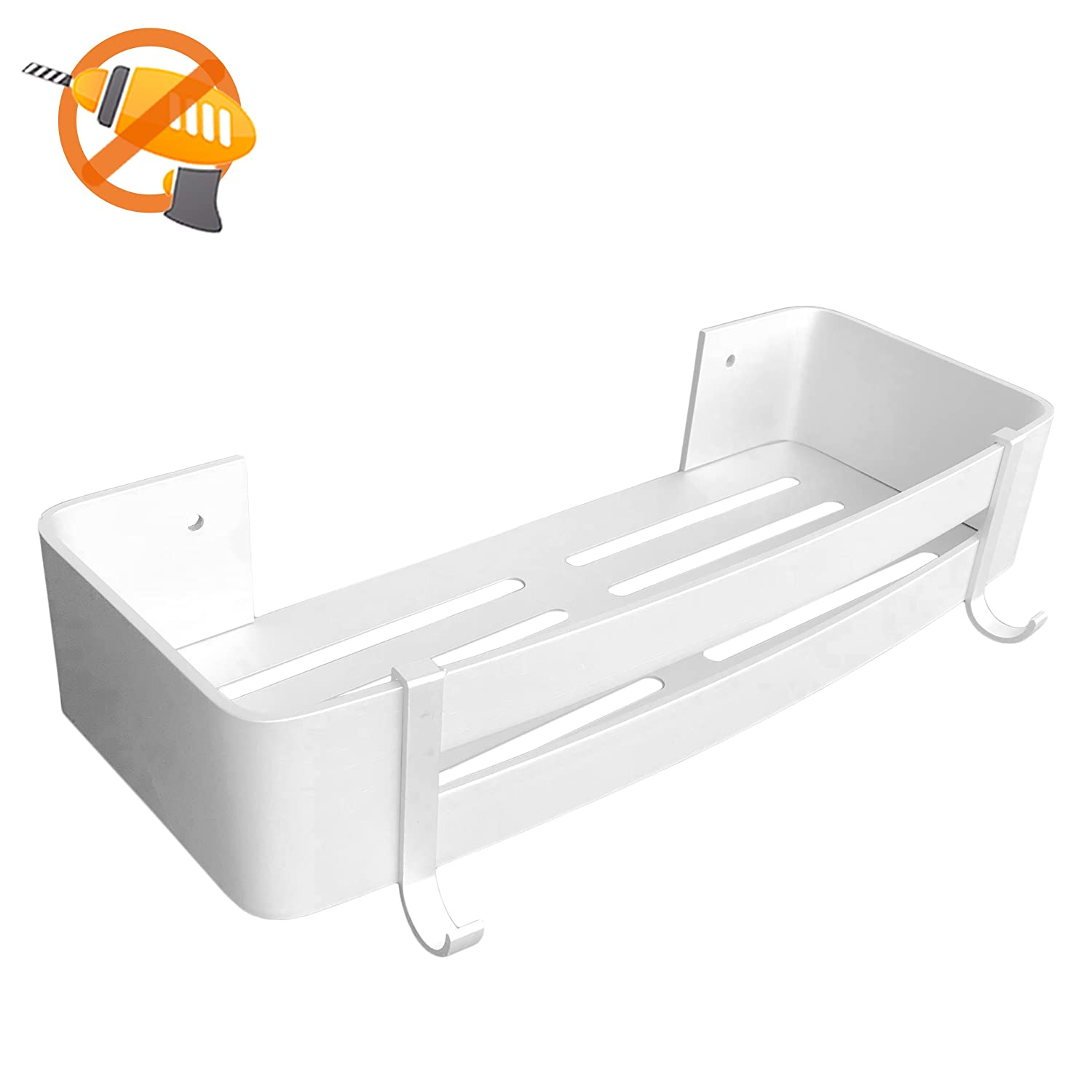 Wall Mount Storage Shelf Basket for Bathroom and Kitchen, 3M Self-Adhesive, Space Aluminum (Rectangle)
