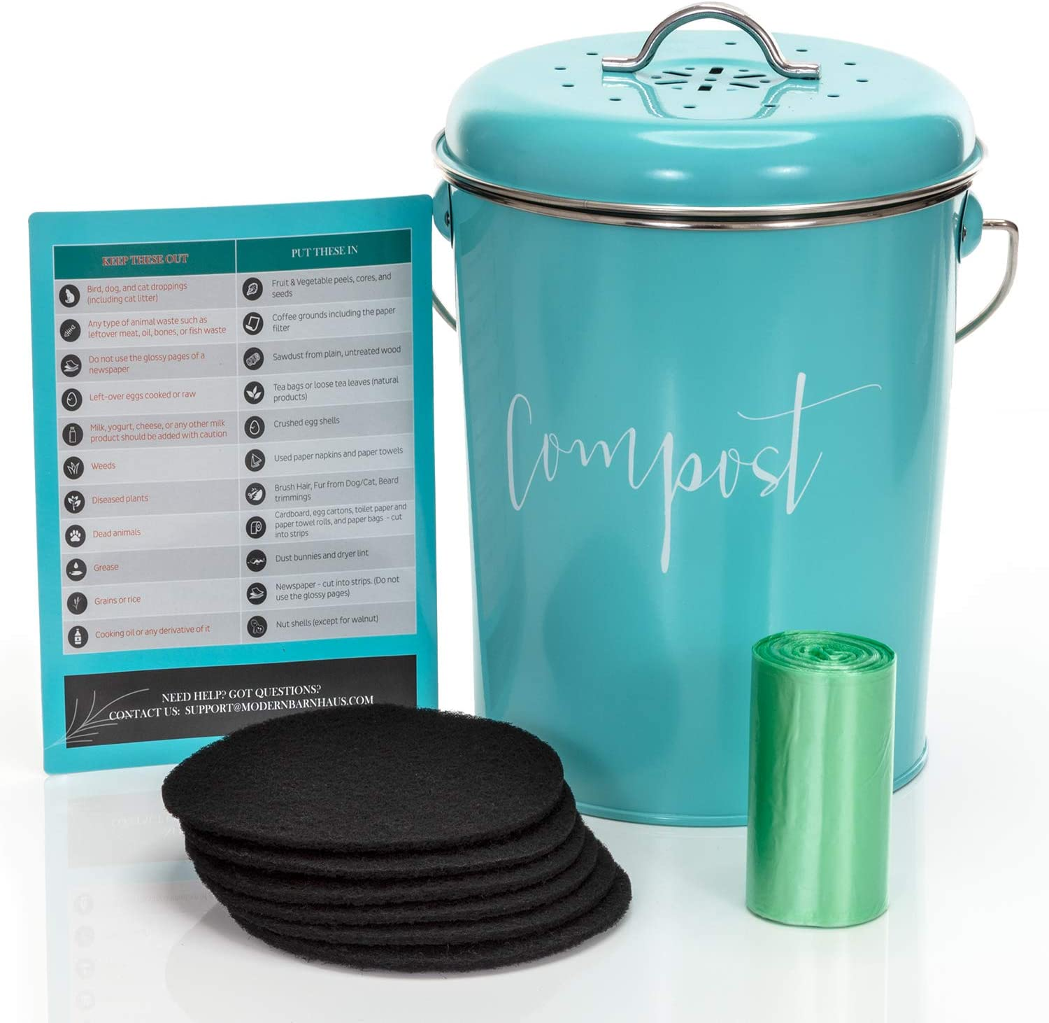 Amazon Com Compost Bin For Kitchen Counter Stainless Steel Countertop Compost Container As 1 3 Gallon Indoor Compost Bucket Or Counter Composter Pail With Lid 50 Compost Bags And 6 Charcoal Filters Turquoise