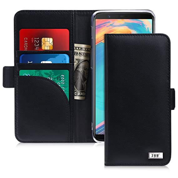 hot sale online d0f54 c12b3 FYY [Genuine Leather] Wallet Case for OnePlus 5T 2017, Handmade Flip Folio  Wallet Case with Kickstand Card Slots Magnetic Closure for OnePlus 5T 2017  ...
