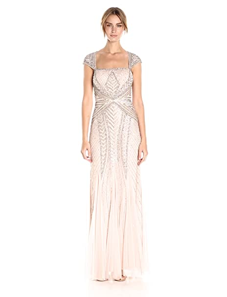 Vintage Inspired Wedding Dress | Vintage Style Wedding Dresses Adrianna Papell Womens Envelope Cap Sleeve Beaded Gown $349.00 AT vintagedancer.com