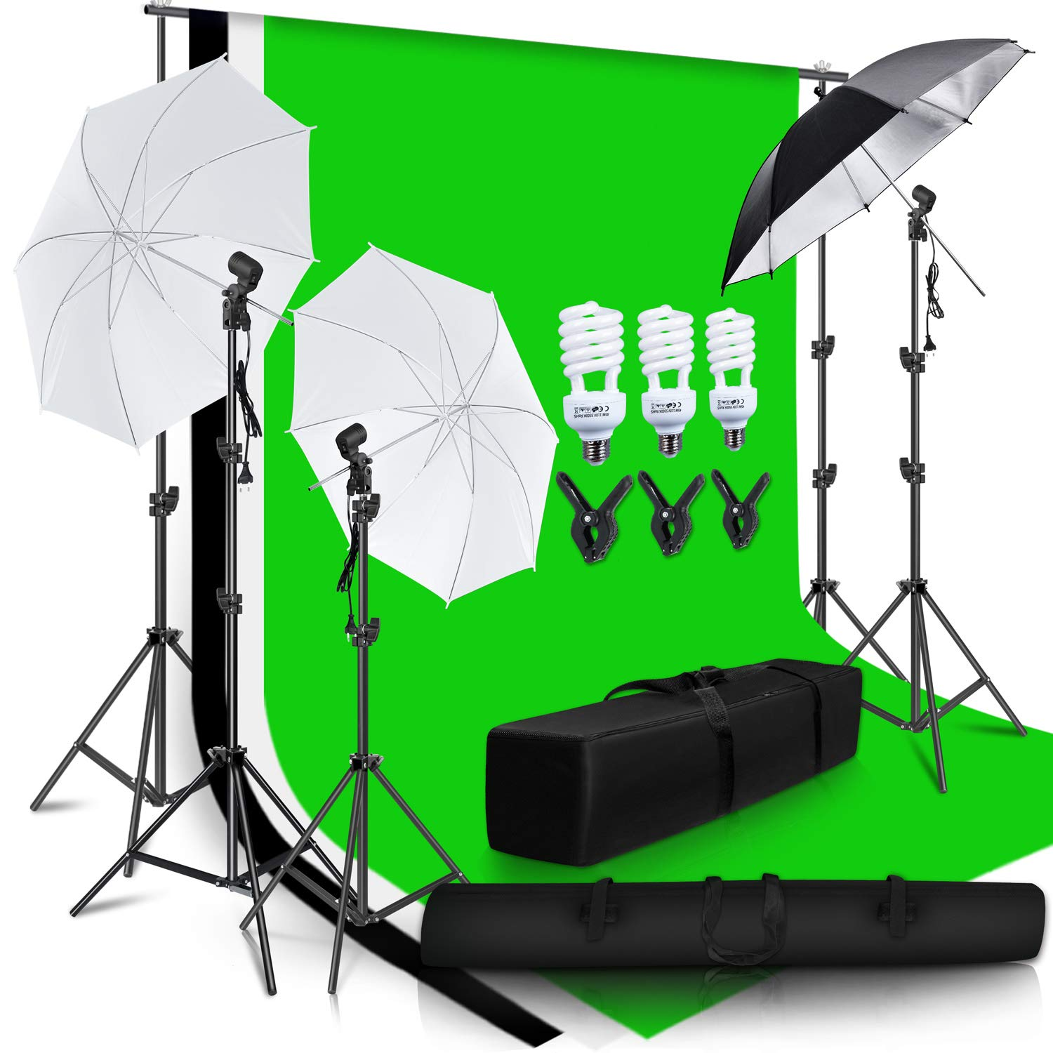 SH Photo Studio Double Off Camera Speedlight Flash Umbrella Kit, Photography Tripod Brackets for Photography Photo Video Studio Lighting Flash Translucent White Soft Umbrella