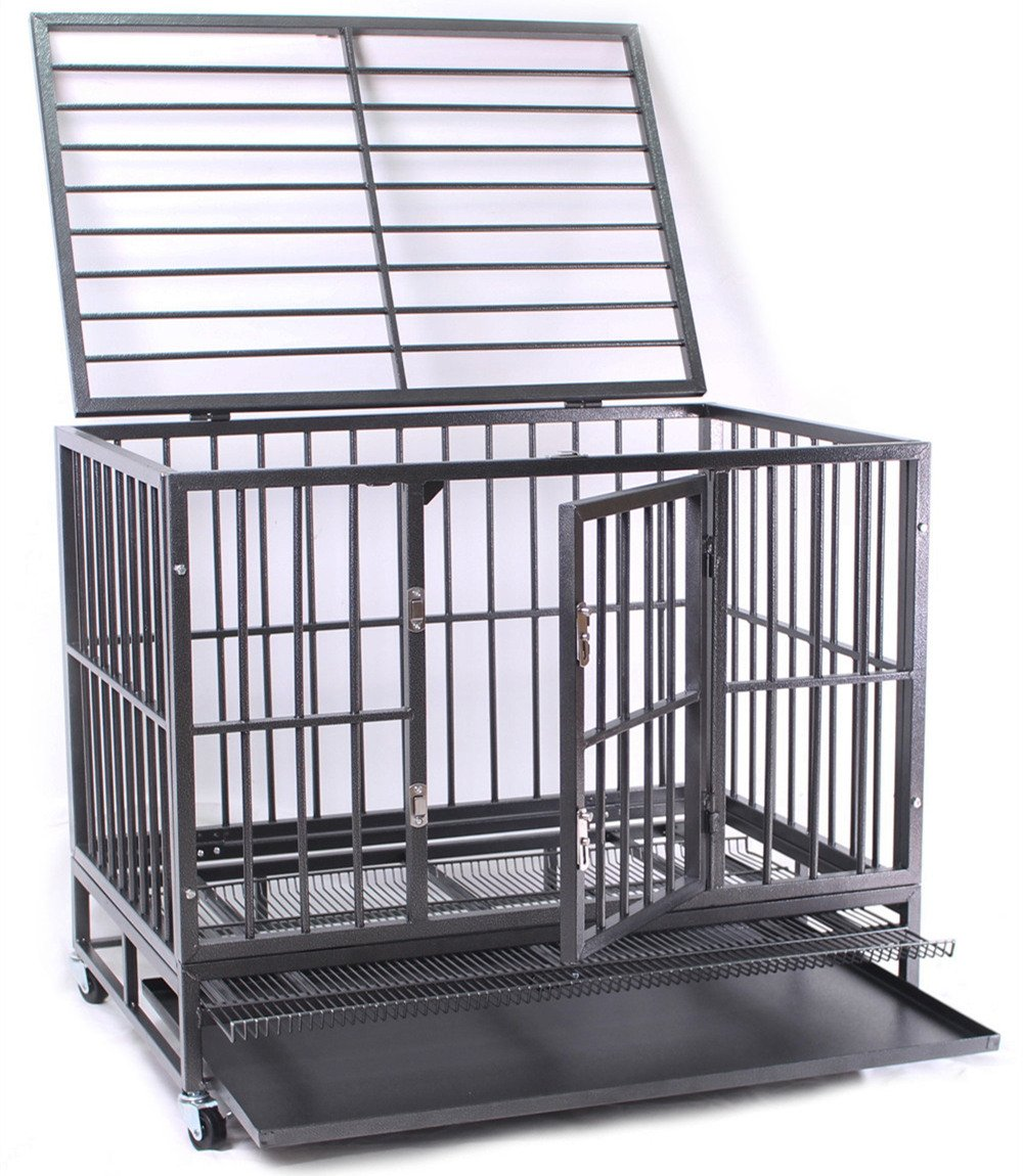 Haige Pet 36'' Heavy Duty Metal Dog Crate Pet Cage Kennel with Tray and Wheels,Medium