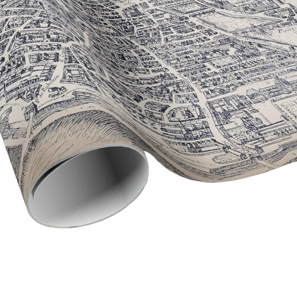 Vintage Plan de Paris Gift Wrap Sheets Gift Paper Paris France City Map Wrapping Paper Collage Paper Craft Decoupage Paper