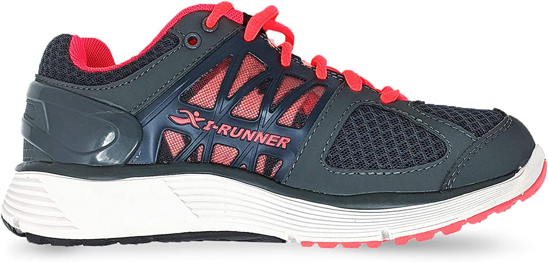 I Runners Maria - Zapatillas para Mujer (4E de Ancho), Color Gris Oscuro y salmón: Amazon.es: Zapatos y complementos