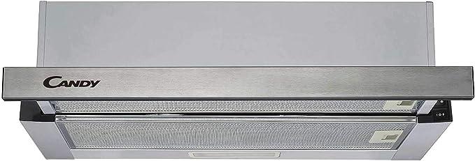 Candy CBT625_2X Campana telescópica, ancho 60 cm, 2 niveles de potencia, capacidad extracción 332.1 m3/h, iluminación LED, 67.5 W, 56 decibels, inox: Amazon.es: Grandes electrodomésticos