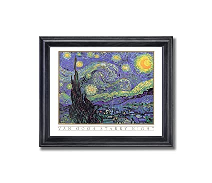 Amazon.com: Vincent Van Gogh Starry Night Wall Picture Framed Art ...