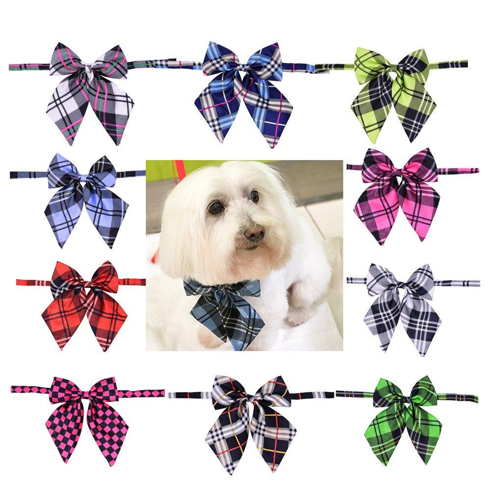 Fashion Plaid Pet Dog Cat Large Bow Ties Adjustable Dog Bowties Pet Grooming Dog Collar Pet Supplies (plaid patterns/8pcs)