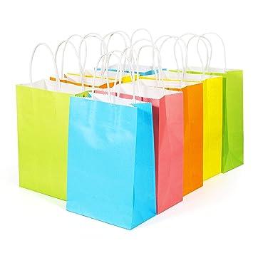 MOOKLIN Bolsas de Regalo Asas - 20pcs Bolsas de cumpleaños Bolsas Rosado Bolsas Dulces Bolsas de Papel para Navidad, Fiestas y cumpleaños de Niños