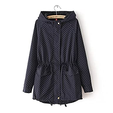 Amazon.com: KEBINAI Autumn Winter Women Cute Polka Dots Hooded Trench Abrigos Chaquetas Plus Size XXXL Coat: Clothing