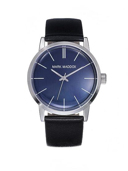 Mark Maddox HC3009-36 Reloj para Hombre con pantalla analógica, esfera azul, correa negra: Amazon.es: Relojes