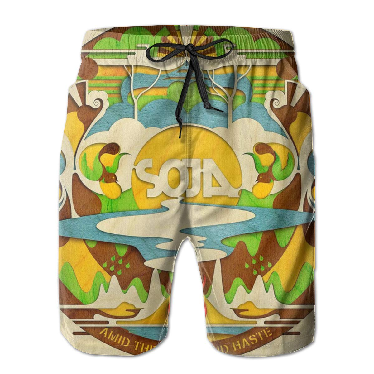 Nathalie R Salmeron SOJA Mens Quick Dry Board Shorts Bathing Suit