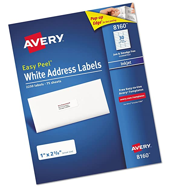 amazon com avery 8160 easy peel white address labels 1 x 2 5 8