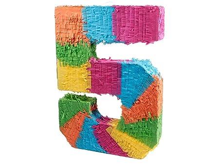 Alsino Piñata Multicolor | Forma de número 5 | para la Fiesta de Cumpleaños | Entretenimiento Niños, Piñata número 5