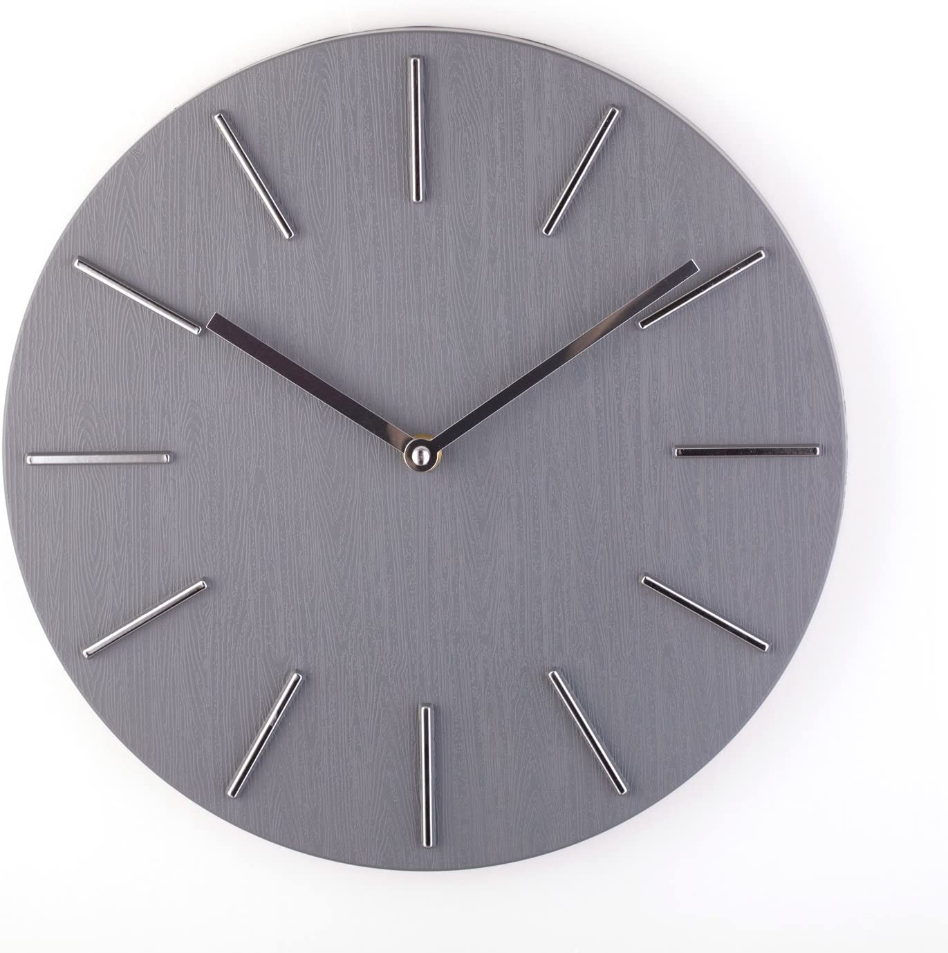 Bloom Flower 12 Inch Decorative Wall Clock Silent Non Ticking for Home, Office, School - Grey