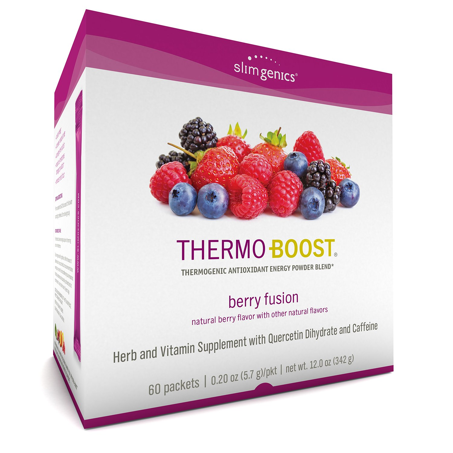 SlimGenics Thermo-Boost ® | Thermogenic Powder Energy Drink Mix - Antioxidant, Anti-Aging Properties - Metabolism Booster for Weight Loss - Fights Fatigue and Inflammation (Berry Flavor)