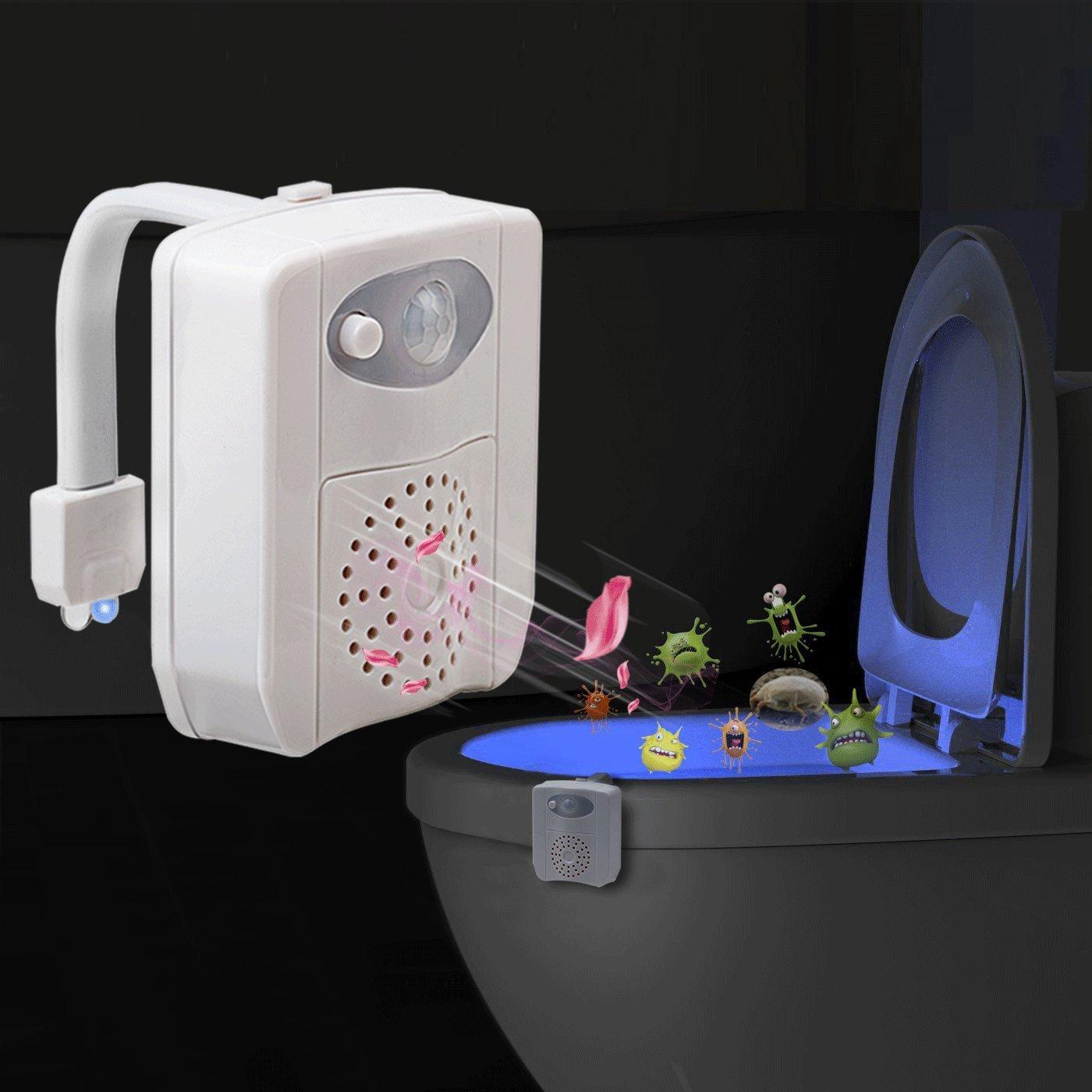 XHL-Oumin Motion Sensor Toilet Night Light - 16-Color LED Bowel Night - Waterproof, Light Detection, Toilet Glow Light for Bathroom