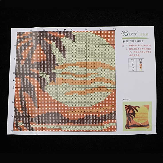 Knüpfkissen mit Knüpfhaken Set DIY Sonnenuntergang Knüpfpackung Kunsthandwerk
