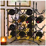 16 Bottle French Country Black Metal Wine Display Rack / Storage Organizer by MyGift
