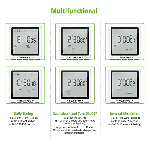 Outlet Timer, NEARPOW Multifunctional Programmable Timer with Countdown and  Infinite Short Cycle, 19 ON/OFF Programs, 7-Day Digital Timers for
