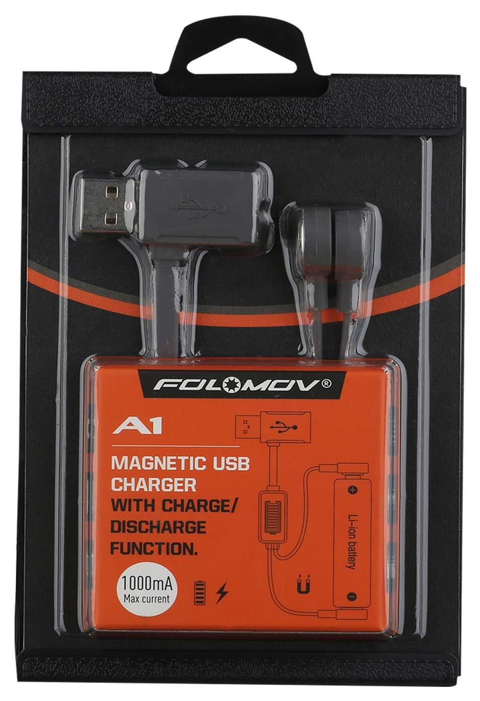 H/ückmann 144014 FOLOMOV A1 Chargeur magn/étique USB pour batteries Li-Ion protection contre la d/écharge profonde et la surcharge, protection contre linversion de polarit/é
