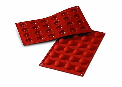 SF006 Molde de Silicona, 24 cavidades con Forma Semi esférica, Color Terracota