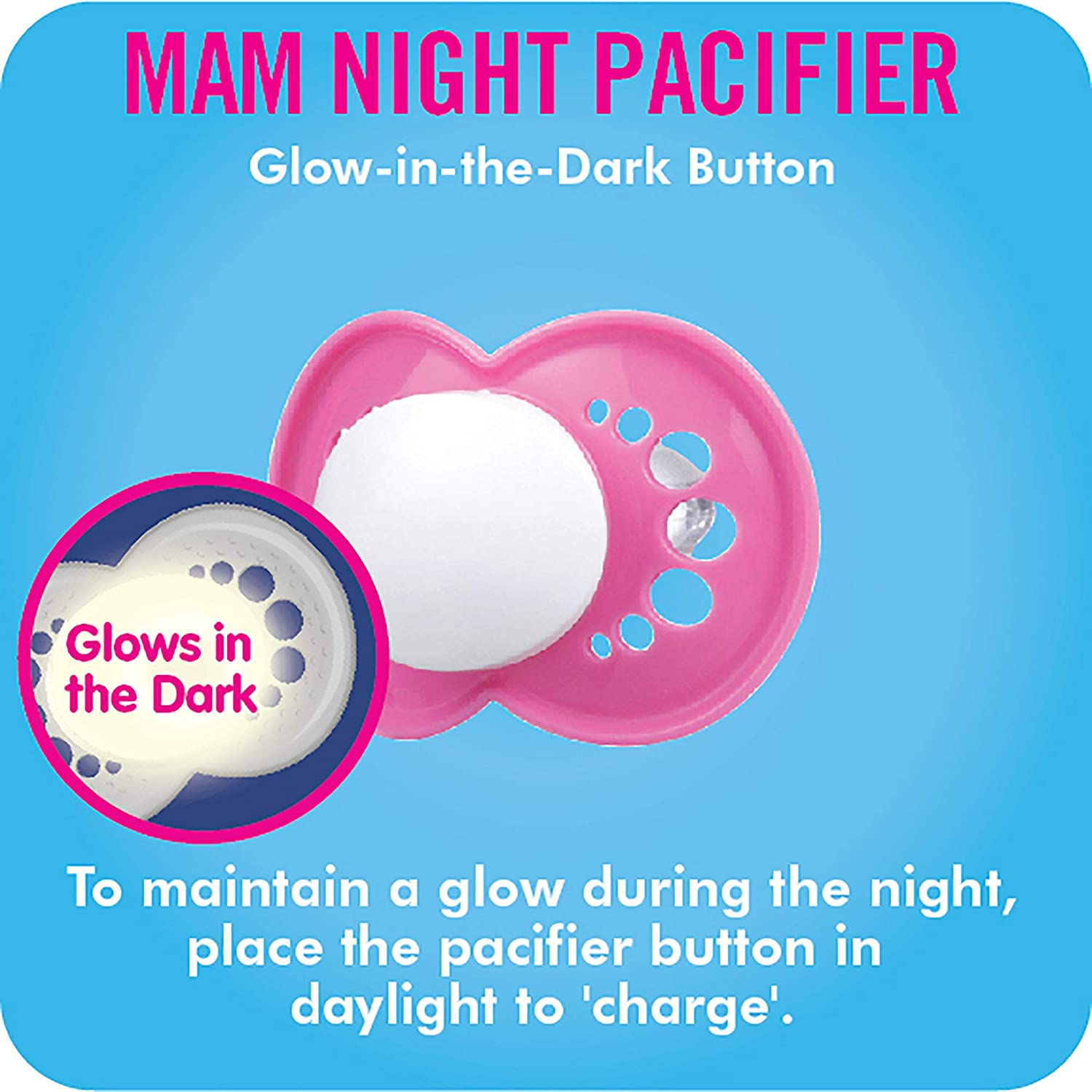 MAM Night Glow in the Dark Silicone Pacifier, Boy, 6 Plus Months, 2-Count by MAM
