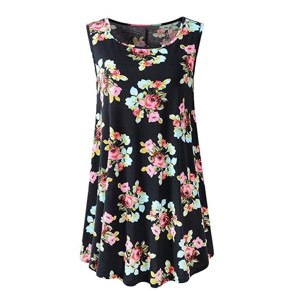 HAALIFE◕‿Womens Sleeveless Comfy Plus Size Tunic Tank Top with Flare Hem