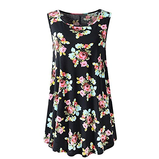 7db32e285ea9d Handyulong Women Shirts Sleeveless Casual Summer Camisole Tank Tops Floral  Print Flare Swing Basic Tunic Cami