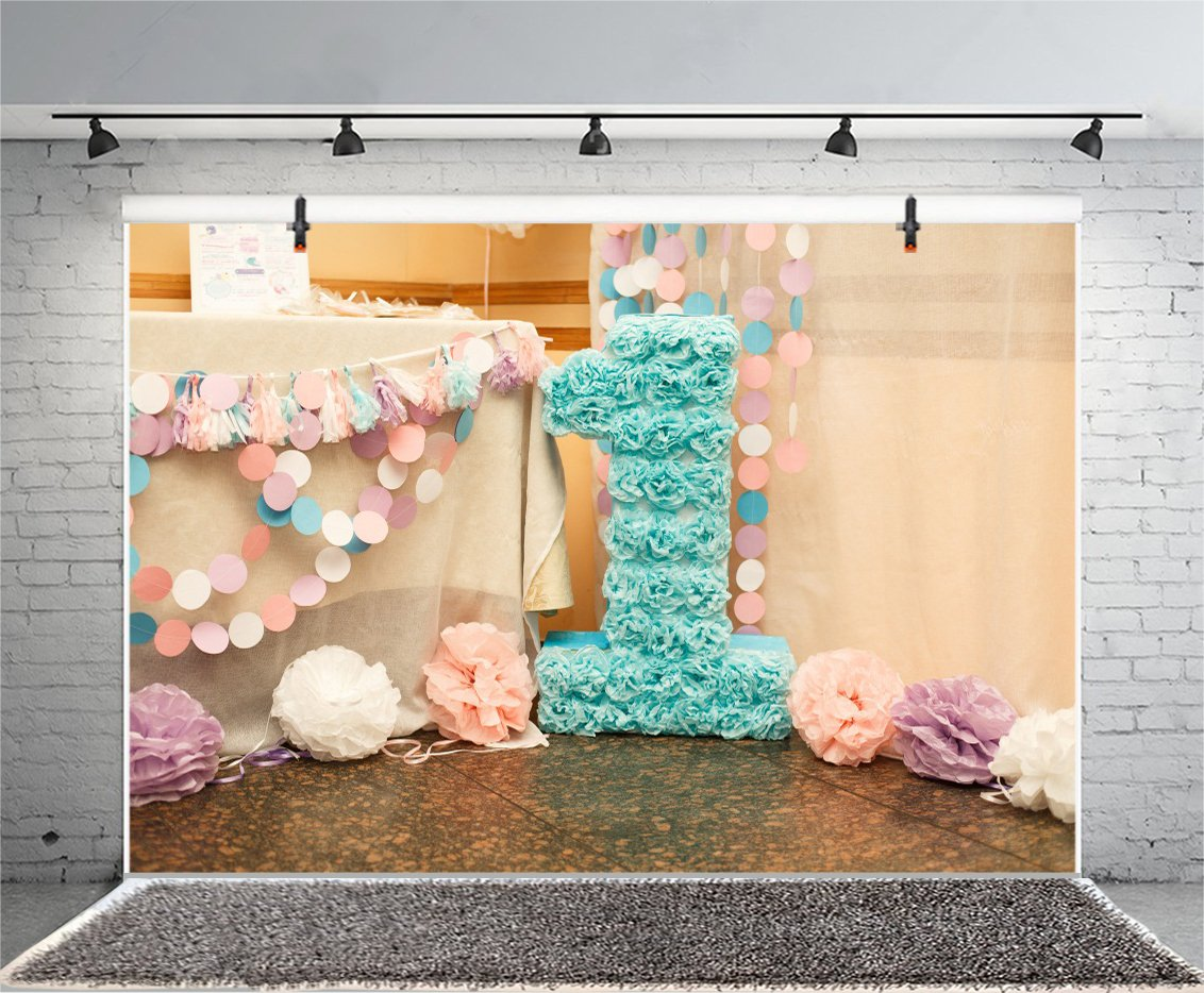 Baocicco Birthday Party For Child One Years Old Backdrop 10x8ft Photography Background Stylish Decorations And Big Number Paper Flowers Round