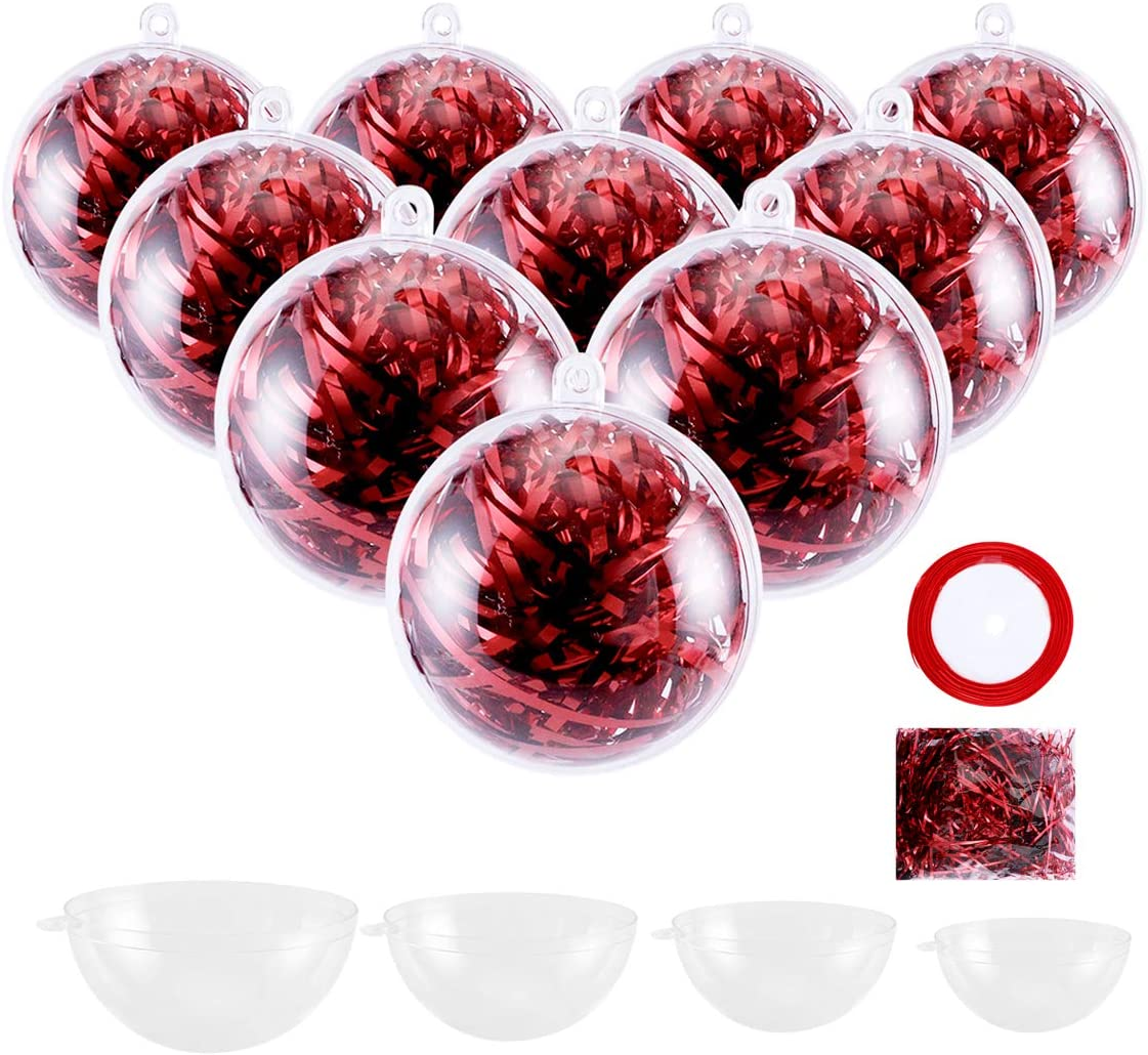 Fashionclubs 24pcs Clear Chrsitmas Fillable Ornaments Balls, DIY Plastic Christmas Baubles Ornament, Snap-On Christmas Tree Decorations Balls Baubles for Wedding Party Decor, 50mm, 60mm, 70mm, 80mm