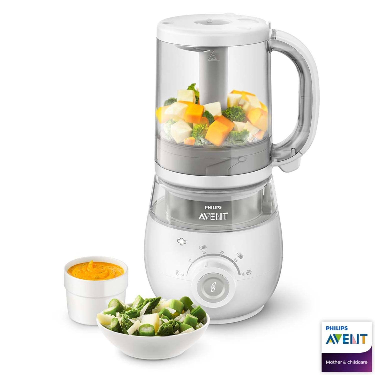 Philips Avent SCF875/01 4-in-1 Baby Food Maker, Steamer and Blender with Easy-to-Use Reheating or Defrosting Functions Phílips