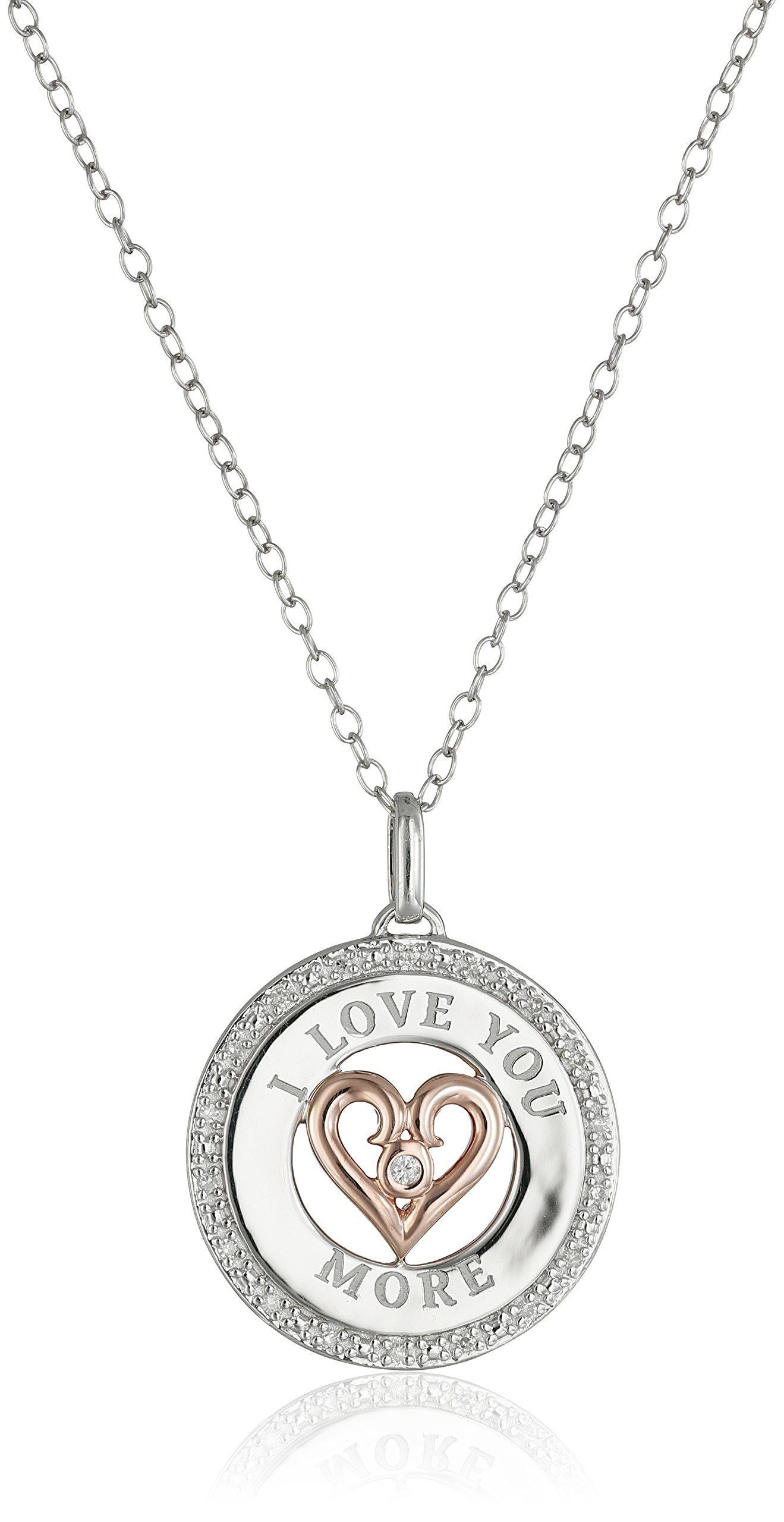 Sterling Silver''I Love You More'' Pendant Necklace with Rose Gold Plating and Round-Cut Diamonds