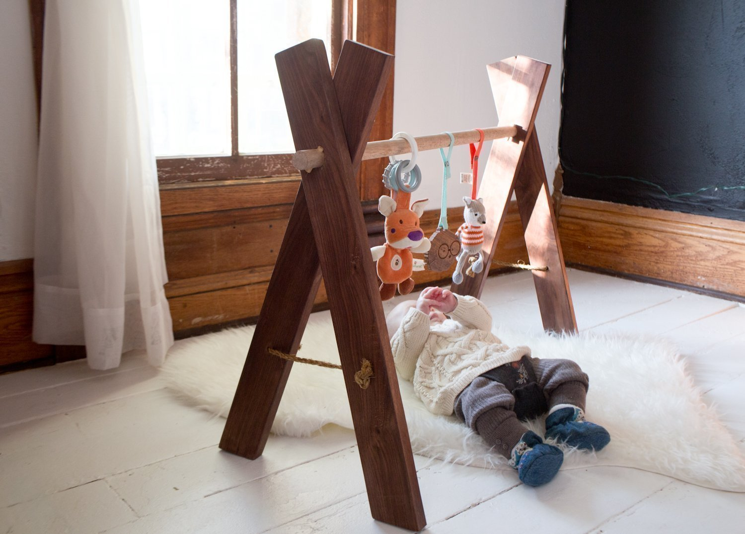 Amazon.com: Natural Wooden Baby Gym   Kids Activity Gym Eco Friendly  Nursery Furniture: Handmade