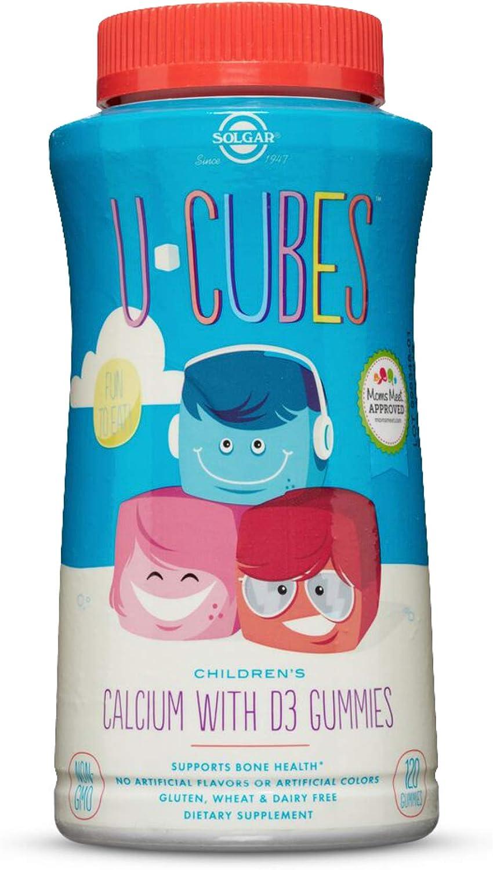 Solgar U-Cubes Children's Calcium with Vitamin D3, 120 Gummies - 3 Flavors, Pink Lemonade, Blueberry & Strawberry - Supports Bone & Teeth Health - Non GMO Gluten Free, Dairy Free - 60 Servings