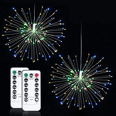 MagicLux Tech 120 LED Firework Decorative Lights with Remote Controller Battery Waterproof 8 Modes Hanging Patio Party, Holiday, Wedding Outdoor Indoor Light Multi(2 Packs) : Garden & Outdoor