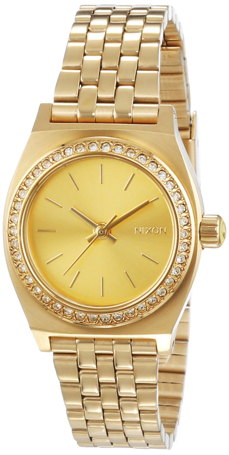 Nixon A399-1520 Ladies Small Time Teller All Gold Crystal Watch