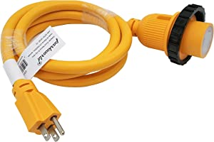 Parkworld 691968C Shore Power Adapter Cord Household 15A Male 5-15P to L5-30R RV/Camper/Marine 30A Female with Locking Ring (6FT)