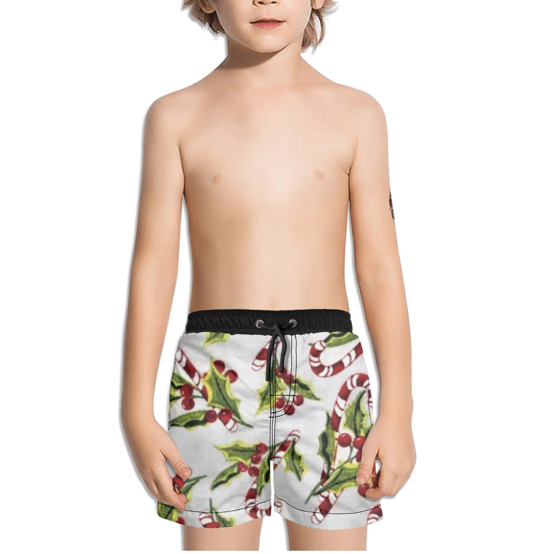 Ouxioaz Boys Swim Trunk Snowy Friends Holly /& Candy Cane Beach Board Shorts
