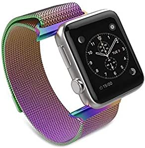 EWORLD Compatible with Apple Watch Band 42mm 44mm iWatch Steel Bands Milanese Loop Replacement for Series 4 3 2 1 – Multi Color