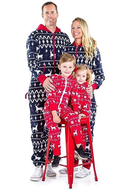Amazon.com  Matching Family Christmas Pajamas - Red and Blue One Piece Xmas  PJ s  Clothing 3cb14e2b7