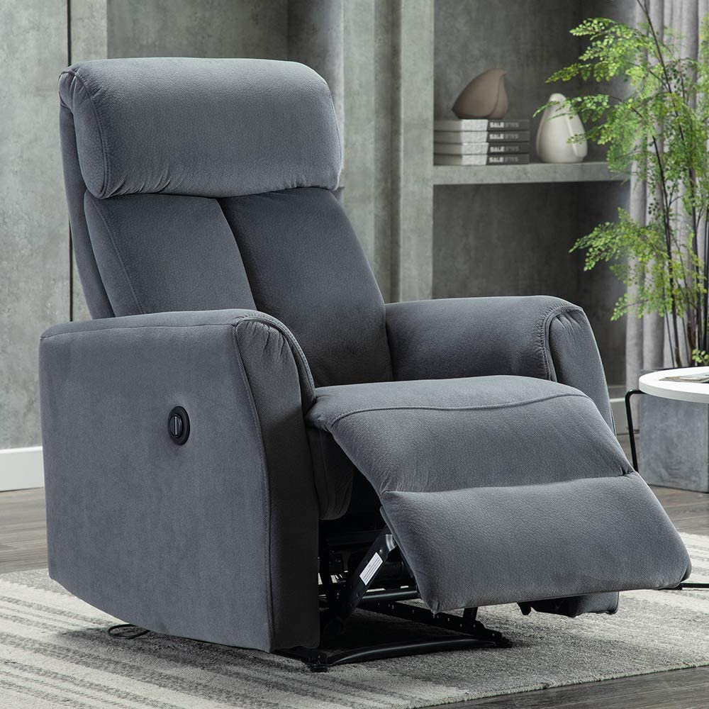 Bonzy Home Power Recliner Chair, Vevelt Fabric Electric Recliner Chair, Overstuffed Heavy Duty Home Theater Seating, Reclining Single Sofa, Bedroom Living Room Chair Power Recliner Sofa (Gray)