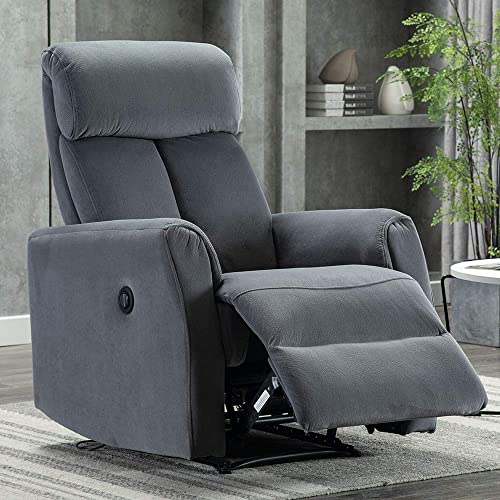 Bonzy Home Power Recliner Chair, Vevelt Fabric Electric Recliner Chair, Overstuffed Heavy Duty Home Theater Seating, Reclining Single Sofa, Bedroom Living Room Chair Power Recliner Sofa Gray