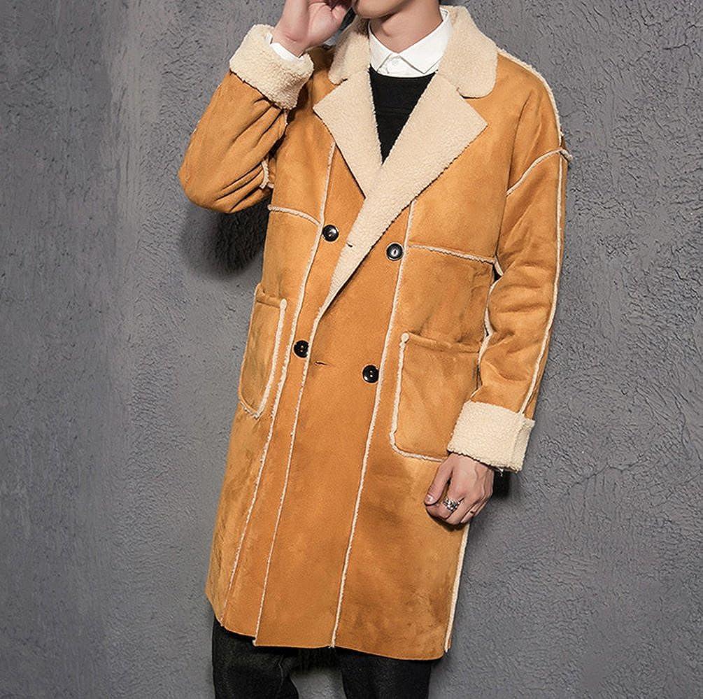 Zhiyuanan Uomo Inverno Cappotto Parka Moda Trench Coat con La Pelliccia del Faux Taglia Larga Casuale Comodo Caldo Soprabito Overcoat Lunga Giacca Vestito Outwear
