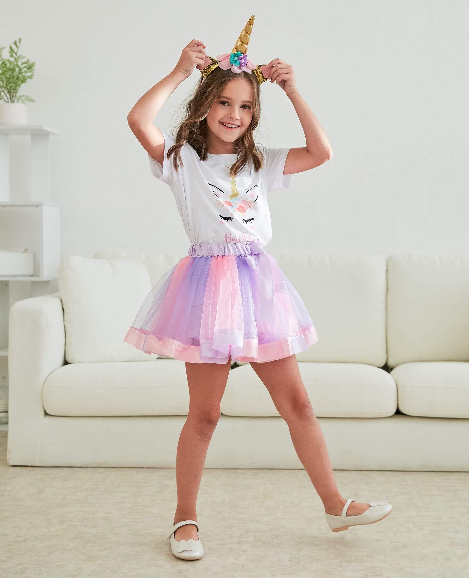 Girls Layered Tutu Skirt with Unicorn Tshirt, Headband & Satin Sash 7