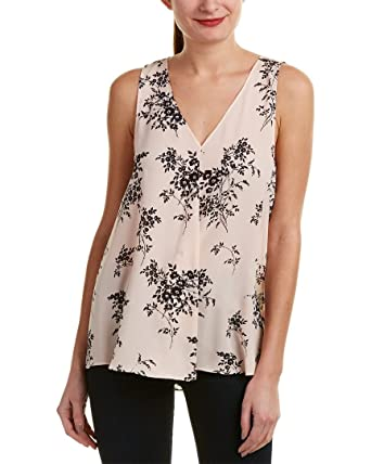46922865e367 Vince Camuto Womens Sleeveless Delicate Bouquet V-Neck Drape Front Blouse  Pink Balm XL One