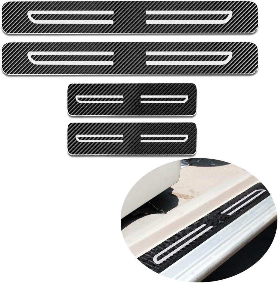 Ruban r/éfl/échissant Blanc Haute intensit/é pour Hond Civic Type-R 4 pi/èces Carbone Porte Sill Scuff P/édale Prot/éger Autocollant seuil Couverture