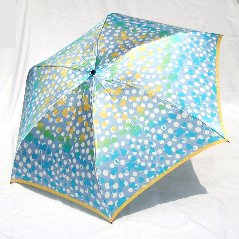ブランド傘UV加工日本製ハナエ モリ HANAE MORI(折りたたみ)ブルーグレー(水玉フラワー)