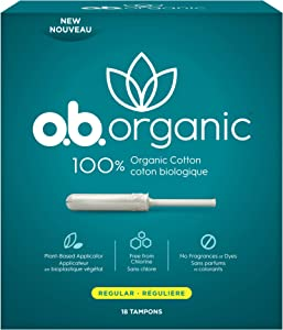 o.b. Organic Tampons with New Plant-Based Applicator*, 100% Organic Cotton, Regular, 18 Count